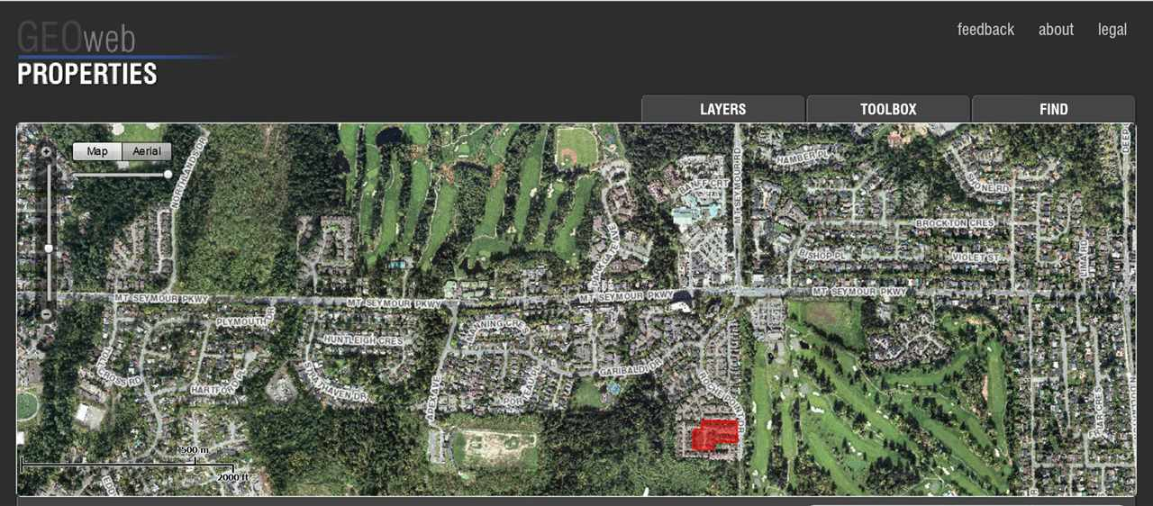 Aerial of Neighbour hood - notice proximitiy to 2 Golf courses and varios parks.